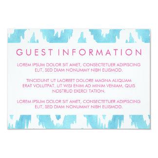 Turquoise Blue Ikat Guest Information 9 Cm X 13 Cm Invitation Card