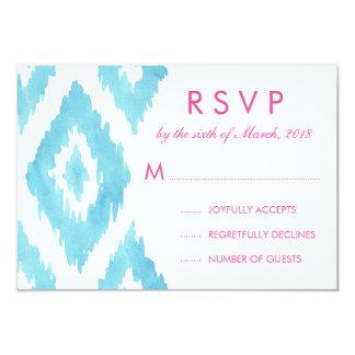 Turquoise Blue Ikat RSVP 9 Cm X 13 Cm Invitation Card