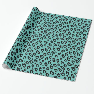 Turquoise blue leopard print wrapping paper