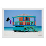 turquoise blue lifeguard stand poster