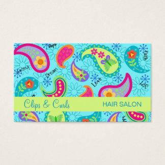 Turquoise Blue Lime Green Modern Paisley Pattern Business Card