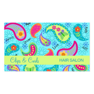 Turquoise Blue Lime Green Modern Paisley Pattern Business Card Templates