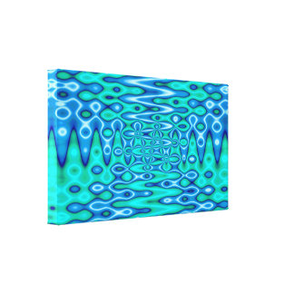 Turquoise Blue liquid abstract Gallery Wrapped Canvas