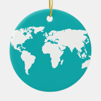 turquoise blue map christmas ornament