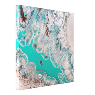 Turquoise Blue Marble Stone Abstract Art Canvas Print