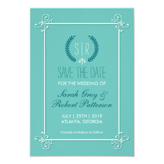 Turquoise Blue Medieval Wedding Save The Date Card 9 Cm X 13 Cm Invitation Card