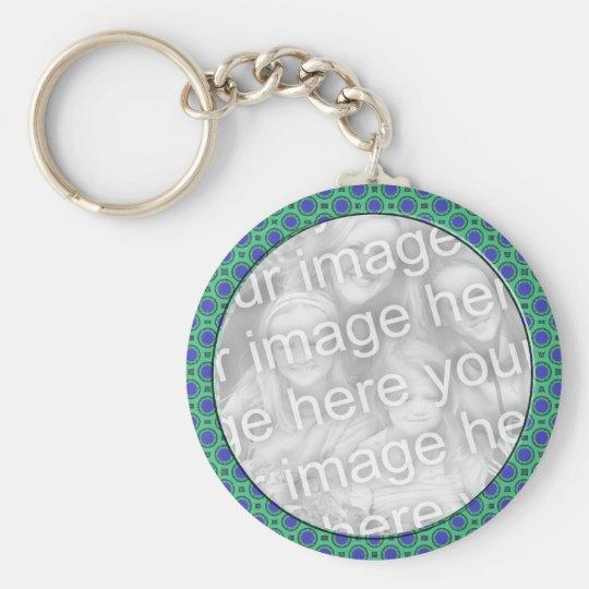 turquoise blue mod dots mod photoframe key ring