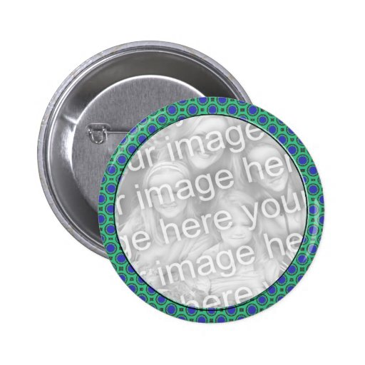 turquoise blue mod dots photo frame pinback buttons