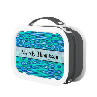 Turquoise blue modern abstract lunchboxes