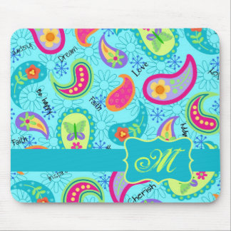 Turquoise Blue Modern Paisley Pattern Monogram Mouse Pad