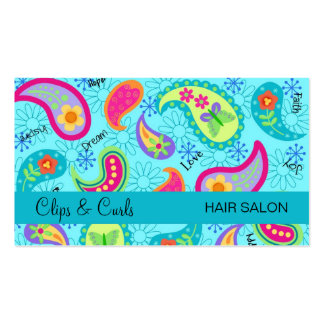 Turquoise Blue Modern Paisley Pattern Pack Of Standard Business Cards