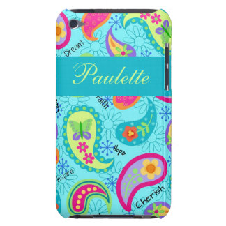 Turquoise Blue Modern Paisley Whimsy Pattern Barely There iPod Cases