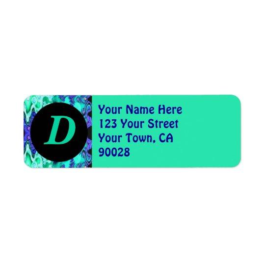 Turquoise Blue Monogram Return Address Label