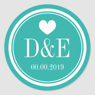 Turquoise blue monogram wedding favor sticker