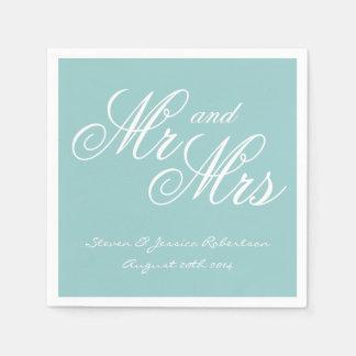 Turquoise blue Mr and Mrs paper wedding napkins Paper Serviettes