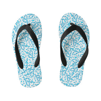 Turquoise Blue Music Notes Pattern Flip Flops