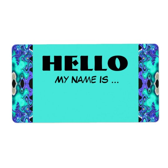 Turquoise Blue name badge Shipping Label