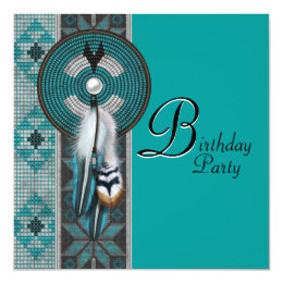 Native american birthday invitations announcements zazzle turquoise blue native american birthday party card bookmarktalkfo Choice Image