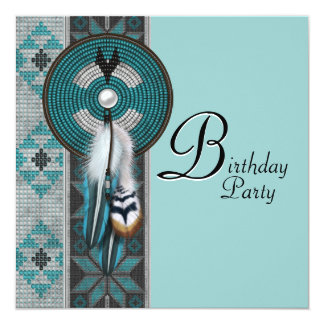 Turquoise Blue Native American Birthday Party Card
