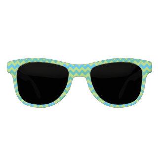 Turquoise Blue Neon Green Emerald Chevrons Sunglasses