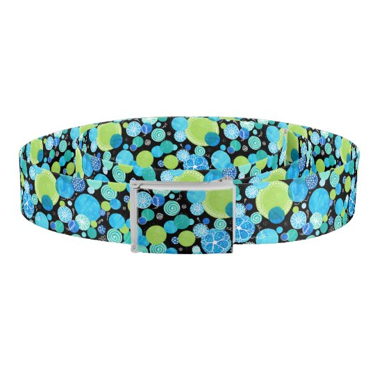Turquoise Blue Neon Green Emerald Quirky Abstract Belt