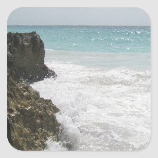 Turquoise Blue Ocean with Foamy Waves Seascape Square Sticker