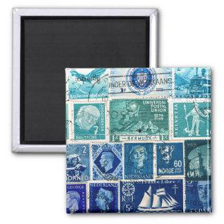 Turquoise Blue Ombre Fridge Magnet, Desk Accessory Square Magnet