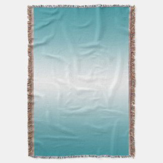 Turquoise Blue Ombre Gradient Color Throw Blanket