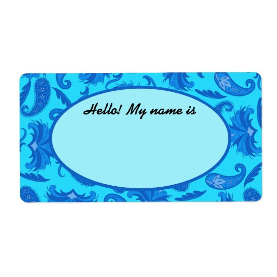 Turquoise & Blue Paisley Name Tag Label