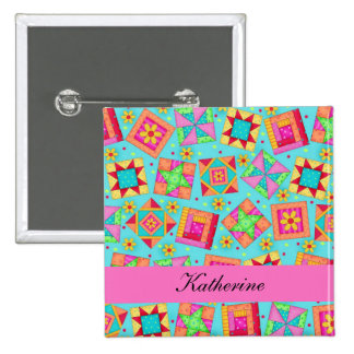 Turquoise Blue Patchwork Quilt Blocks Name Badge