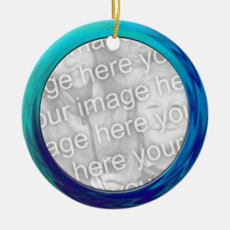 turquoise blue photo frame christmas ornament