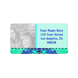 Turquoise Blue photo Label