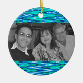 turquoise blue photoframe christmas ornament