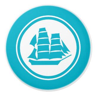 Turquoise Blue Pirate Ship Nautical ceramic knob
