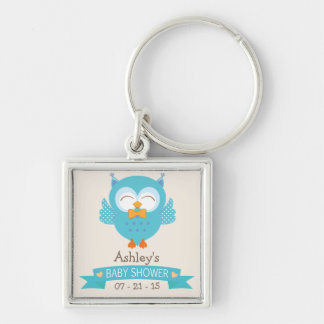 Turquoise Blue & Purple Boy Owl Baby Shower Silver-Colored Square Keychain