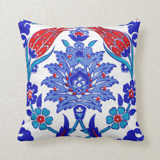Turquoise Blue Red Ancient Turkish Floral Tile Throw Pillow