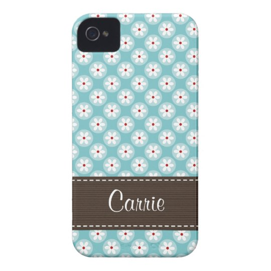 Turquoise Blue Red Daisy iPhone 4 Case Cover