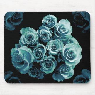 TURQUOISE BLUE Rose Bouquet Mouse Mat