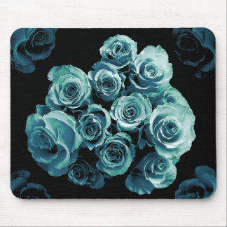 TURQUOISE BLUE Rose Bouquet Mouse Pad