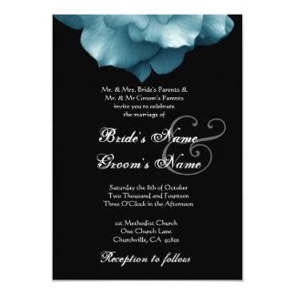 TURQUOISE BLUE Rose Petals Wedding Template Custom Invitation