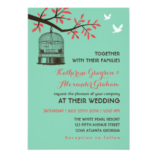 Turquoise Blue Rustic Bird Cage Wedding Invitation