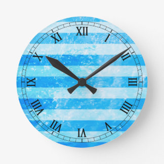 Turquoise Blue Sea Stripes Round Clock