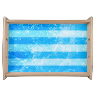 Turquoise Blue Sea Stripes Serving Tray