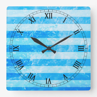 Turquoise Blue Sea Stripes Square Wall Clock