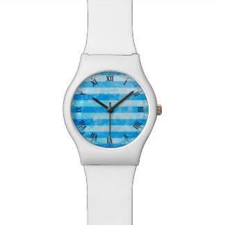 Turquoise Blue Sea Stripes Watch