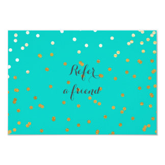 Turquoise Blue & Shiny Gold Dots Referral Card 9 Cm X 13 Cm Invitation Card
