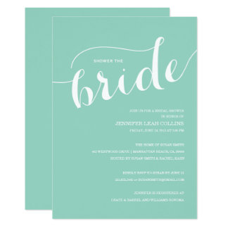 Turquoise Blue Shower the Bride Invitation