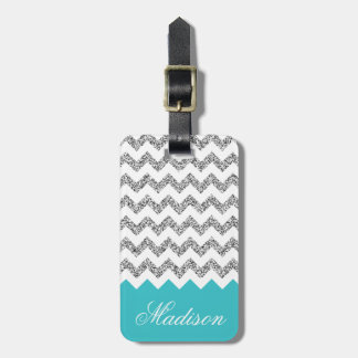 Turquoise Blue Silvery Glitter Chevron Pattern Luggage Tag