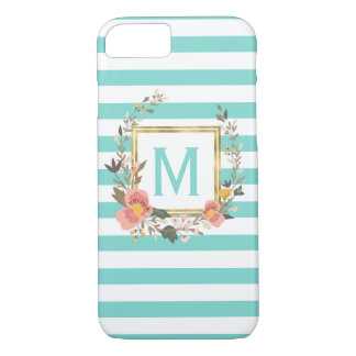 Turquoise Blue Striped Chic Monogram Personalized iPhone 8/7 Case