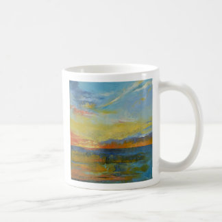 Turquoise Blue Sunset Basic White Mug